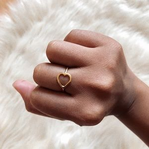 14k Gold Plated Dainty and Simple Heart Ring